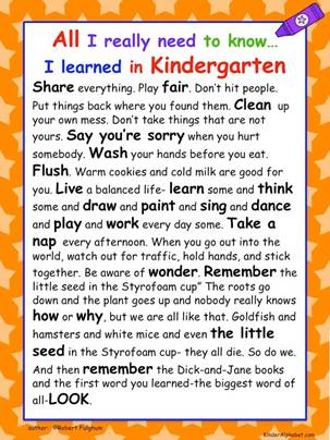 I learned in Kindergarten...